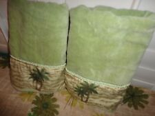 BETTER HOMES GREEN BROWN VELOUR PALM TRESS (PAIR) BATH TOWELS 24 X 44