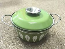 Vintage Cathrine Holm Avocado Green Lotus Enamelware Casserole Pot Norway