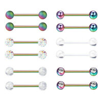 12PCS Surgical Steel Tongue Lip Nipplerings Barbell Nipple Ring Piercing Jewelry
