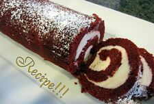 "☆Red Velvet Cake Roll ""RECIPE""☆W/Cream Cheese Filling!☆Rich, Creamy & Decadent!☆"