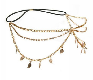 Haarband Blätter gold-farbig Haarschmuck Stirnband Hippie Vintage Strass Kette