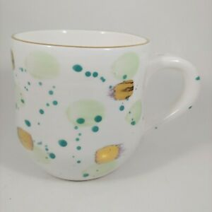 ANTHROPOLOGIE Coffee Mug / Cup - Green & Gold Dots Suite One Studio - 16oz Large