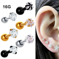1 Pair 16G 3mm CZ Gem Ball Ear Cartilage Tragus Helix Stud Earring Body Piercing