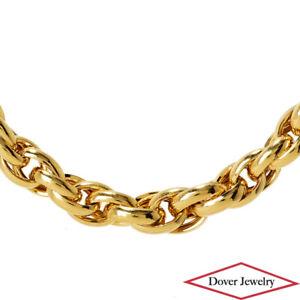 Italian 10K Gold Fancy Graduated Wheat Chain Necklace 10.2 Grams NR