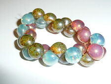 Mushroom Buttons Glass Beads - Milky/Opal Denim Blue Fuchsia & Stone Green 9x8mm