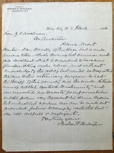 Miles City, MT 1886 Letterhead: Andrew F. Burleigh, Lawyer - Montana Territory