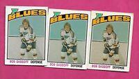 3 X 1976-77 OPC # 301 BLUES BOB GASSOFF 2ND YEAR  EX-MT CARD (INV# C5041)