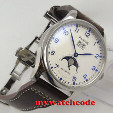 43mm parnis white dial blue date window Moon Phase automatic STYLISH MENS watch