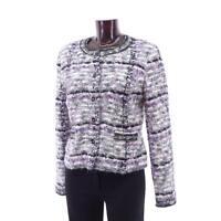 Boucle Jacke grau lila schwarz N3 MARC CAIN Gr.38 Wollejacke Wolle Mohair Seide