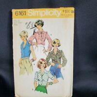 Simplicity Pattern 6161 Misses Point Collar Button Blouse Sz 10 UNCUT Vtg 1973
