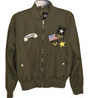Women's Bomber Flight Jacket Size Large Green Zip Front Lightweight Patches NEW