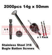 2000pcs - 14g x 50mm Stainless Steel SS316 Bugle Head Batten Screws + SmartBit
