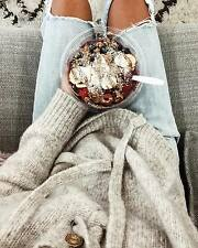 BNWT ZARA 'sweater with front tie' grey melange knit jumper wool mohair blend M