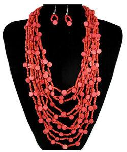 NEU Urlaub Feeling Schmuckset Set Kette Ohrringe Kokos Holz Perlen Koralle Rot