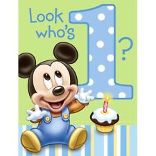 Mickey mouse birthday child greeting cards ebay disney mickey mouse 1st birthday party invitations 8 ct filmwisefo Image collections