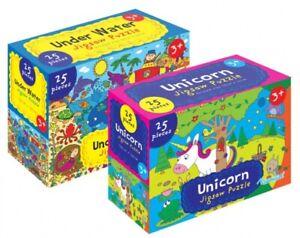 2x Big Puzzles - Unicorn & Underwater Scene - New & Sealed- 25 Big Puzzle Pieces
