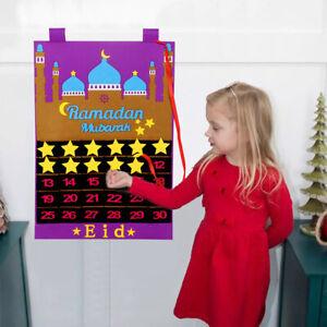 Eid Ramadan Mubarak Felt Advent Calendar Countdown Muslim Kareem Hanging Decor