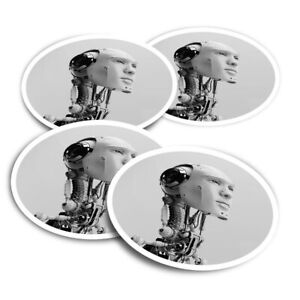 4x Round Stickers 10 cm - BW - Futuristic Robot Artificial Intelligence  #36186