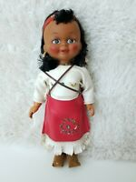 Vintage Native American Indian Doll Beaded Leather Dress 10""