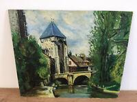tableau ancien huile sur panneau à définir 1963 (XXe-s) cours d'eau village