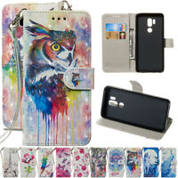 For LG Stylo4 G7 V30 V40 Painted Leather Flip Kickstand Card Wallet Case Cover