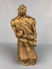 """Primitive Clay Sculpture ERECTUS Mother Nursing Baby 12"""" Tall Unsigned"""