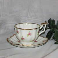 SALISBURY BONE CHINA CUP & SAUCER PRETTY PINK ROSETTES ROSES GOLD ENGLAND TEACUP