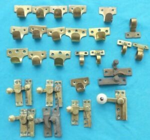 Job Lot Brass Sash Window Fittings - Over 30 Pieces