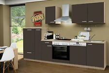 Küchenzeile Classic Lava CF GS 300cm,Sonoma ,incl.E-Geräte, Ceran,Geschirrspüler