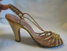 1950S Avonettes ~ Saks Fifth Ave~ Gold Leather High Heel Sandals Shoes~ Sz 4.5 B