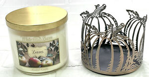BATH & BODY WORKS WHITE BARN LEAVES SCENTED 3 WICK CANDLE 14.5oz And Sleeve