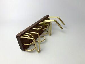 "Vintage Wood and Gold Tone Hooks Closet Organizer Wall Mount 12""x3"""