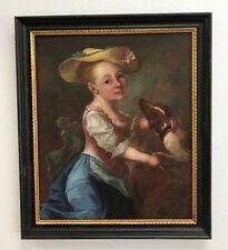 18th Century Portrait Young Girl and Spaniel  Oil on canvas