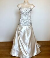 Peter Trends Wedding Dress Size 8 Ivory Satin & Silver Beaded Lace Was $2605