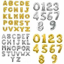"""Gold & Silver 16"""" 40cm & 40"""" 100cm Letter Number Foil Balloons Balloon Party"""