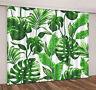 Tropical Green Leaves Room Darkening Blockout Window Curtain 2 Panels Set Fabric