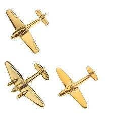Luftwaffe Classic Fighters & Bombers 3 Tie Pins-Gold Plated- Me109, Fw190, He111