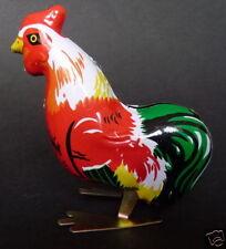 HOPPING CHICKEN COCKERELL Wind Up Tin Toy Clockwork