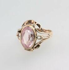 8625006 333er GG Gold Ring Rosa Topas oder Bergkristall Gr.55 Handarbeit antik