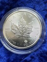 2020 Uncirculated 9999 1oz Fine Maple Leaf Silver Bullion Privy coin in capsule.
