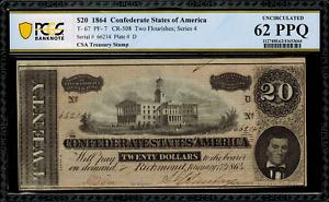 T-67 / PF-7 $20 1864 Confederate Currency CSA - Graded PCGS 62 PPQ - Unc.