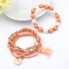 Woman Jewelry Multi-layer Metal Bracelet Beads Coin Tassel Bracelets Colorful