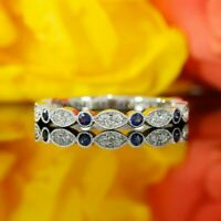 1Ct Round Cut Blue Sapphire Half Eternity Wedding Band Ring 14K White Gold FN