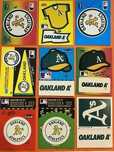 Vintage 1980's OAKLAND ATHLETICS Fleer Team Baseball Sticker Lot of 9 Different