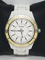 Ladies Fossil Silver Tone White Plastic Link Bracelet Analog Watch ES2442 B9