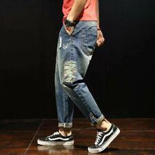 W42 Fashion Patchwork Ripped Men's Denim Three quarter Jeans