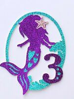 Layered Child Mermaid Cake Topper with Birthday number or first initial