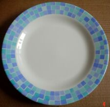 Wessex Collection Dinner Plate Turquoise And Blue Square Pattern