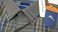 NWT $145 Tommy Bahama LS Black Gray Plaid Shirt Mens Cotton Blend