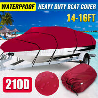 14-16FT Heavy Duty 210D Boat Cover Waterproof For Fish Ski Bass V-Hull